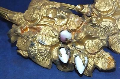 TWO LARGE ORNATE FRENCH DRAPERY CURTAIN TIEBACKS BRASS w/ PORCELAIN ROSEBUDS