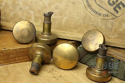 Set of 6 Antique Brass Round Knobs for a catch like door locking system. Itm328