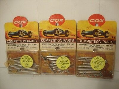 "Vintage 1960s COX Slot Car Mag Wheel Stainless Taper Axel 2"" Accessory Parts To"