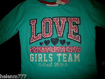 "Mango Girl 0 Blue Glitter ""Love Athletics"" Pleat Shoulder Long Sleeve Tee Tshirt"