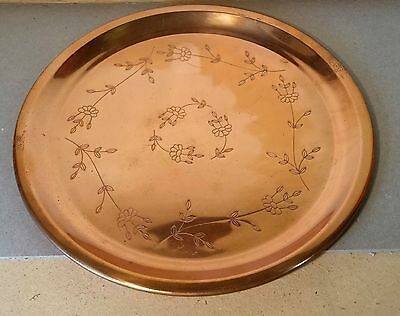 """Etched Copper Tray 12"""" Round Smooth Clean Copper"""