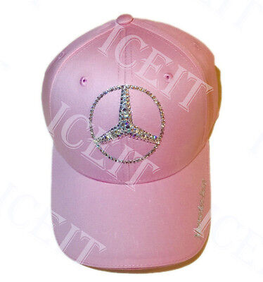 Mercedes Benz Logo Adjustable Cap With Swarovski Crystals (Pink)