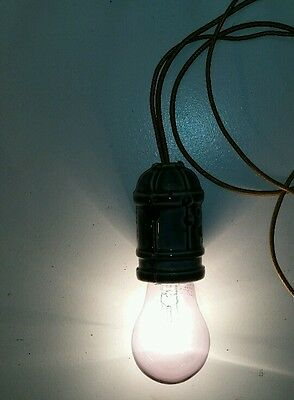 Antique Industrial Cloth Wire Suspended Green Socket Patent Dates 1911 1915 & 16