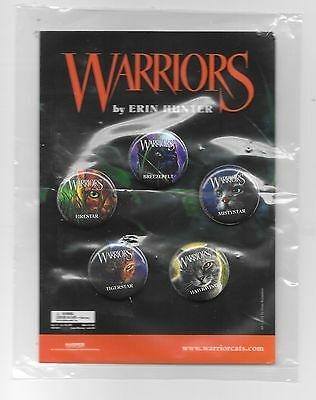 Warrior Cats: Warriors by Erin Hunter Pin Back Promo Set of 5