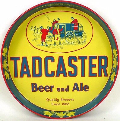 MINT NOS 1940s Tadcaster Beer Ale 12in Serving Tray Tavern Trove Worcester MA