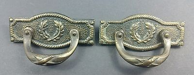 "2 French Handles pulls Ornate Backplate antique style brass 2 3/8"" #Z12"