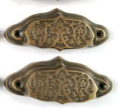 "2 brass Ornate Apothecary cabinet drawer bin cup pull Handles 3 9/16"" #A4"