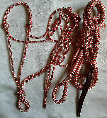 Rope Halter & 12ft Lead Rope with Loop in Red/Beige Zig Zag by Natural Equipment