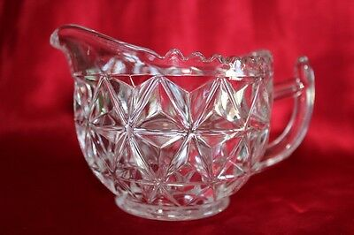Vintage Pressed Glass Milk Jug Diamond Pattern With Sawtooth Rim