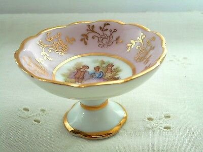 Vintage Miniature Limoges France Footed Bowl - Victorian Style with Gold Trim