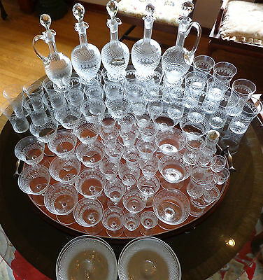 112 Antique Fine Crystal Diamond Cut & Etched Pattern 102 Stemware & 5 Decanters