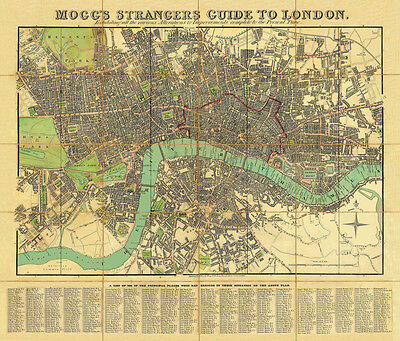 Mogg's Strangers Guide To London 1834.Large Size. Linen backed old map of London