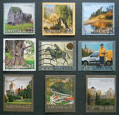Latvia 9 modern used self-adhesive stamps 3 complete sets 2005-2008