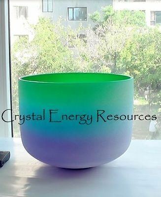 Rainbow F Heart Chakra Frosted Quartz Crystal Singing Bowl 10""