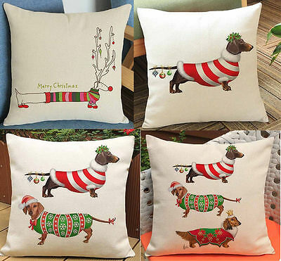 Merry Christmas Dachshund Pillow case dog pattern cushion cover sofa home decor