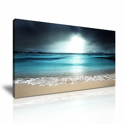 Wave Beach Canvas Wall Art Picture Print 60x30cm