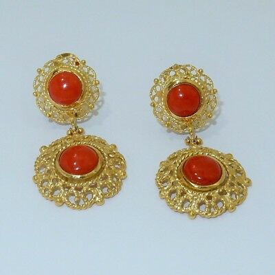 Orecchini pendenti Corallo naturale Oro giallo 18kt -coral earrings and 18kt gol