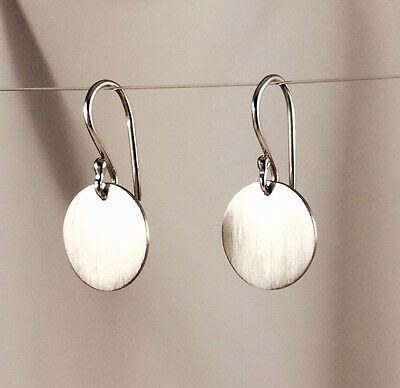 Solid 925 Sterling Silver 13mm Drop Disc Earrings with Matte Finish