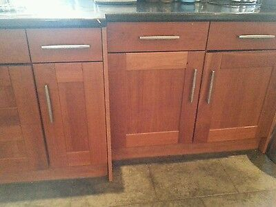 Used kitchen Cupboard and Door fronts. Solid Cherry. Collect Orpington