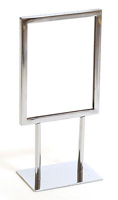 "Countertop Metal Signage Display Holder Stand Chrome 5-1/2""W x 7""H Lot of 25 NEW"