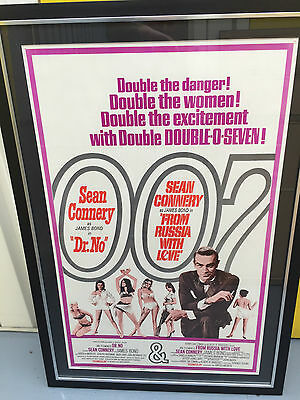 Original Us One Sheet Double Bill Dr No And From Russia With Love James Bond