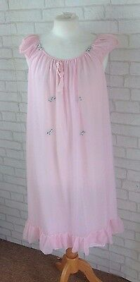 Vintage 1960's Pink Chiffon Baby Doll Nightie Night Dress Slip Size Medium