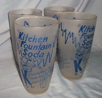 """Set of 4 VINTAGE '50s Dairy Guild """"Kitchen Fountain Soda"""" Glasses - Very Nice!"""