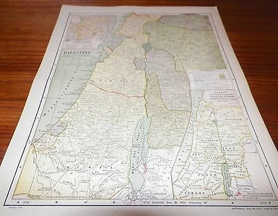 1910 Old Vintage Antique Map Palestine The Matthews-Northrup Works Buffalo NY