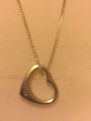 Sterling Silver 925 Floating Heart Pendant on Chain