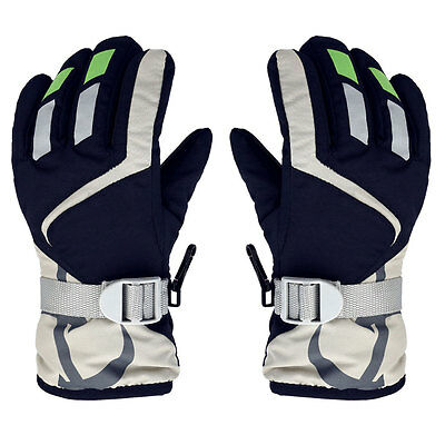 Children Winter Warm Kids Ski Snowboard Gloves W/Adjustable Strap Navy Blue #U
