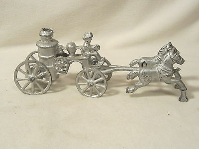 Vintage Cast Iron Horse Drawn Fire Wagon Toy Figure