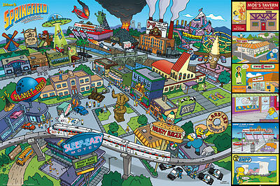 """THE SIMPSONS POSTER """"SPRINGFIELD"""" LICENSED """"BRAND NEW"""" SIZE 61cm X 91.5cm"""