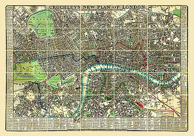 Cruchley's New Plan of London 1846. old vintage map of London. Linen backed