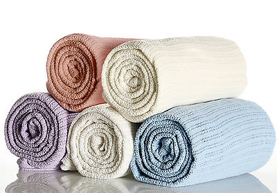 Super Soft 100% Cotton Baby Cellular Blanket - Choose From Moses or Cot Bed Size