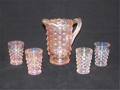 Childs Pink Carnival Hobnail Water Set