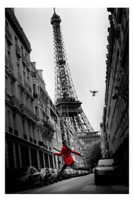 "PARIS EIFFEL TOWER POSTER ""RED COAT"" LICENSED ""BRAND NEW"" 61cm X 91.5cm"