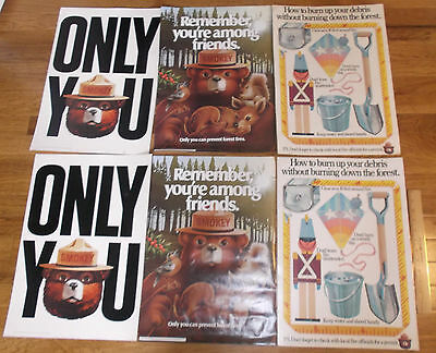 Six vintage  SMOKEY the BEAR POSTERS 70s 80s think CDF forest Fire only you sign