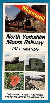 Timetable Leaflet - North Yorkshire Moors Railway - Pickering to Grosmont - 1981