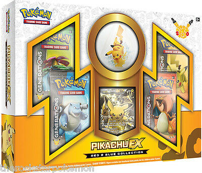 Pokemon Tcg~Pikachu Ex Red And Blue Collection Box W/figure~Rare! Out Of Print!