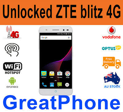 "New Unlocked  ZTE Blitz V0720 4G LTE700 Smartphone 8MP 5"" - Silver Metal bodied"