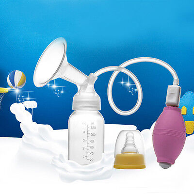 120mL Baby Feeding Plastic Rubber Manual Squeezing Suction Milk Breast Pump UK
