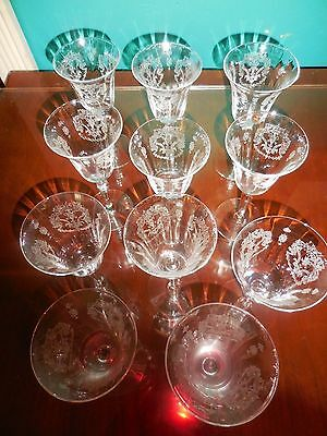 """(11) ETCHED CRYSTAL 6"""" OPTIC PANEL CORDIAL/SHERRY GLASSES Cambridge? STUNNING"""