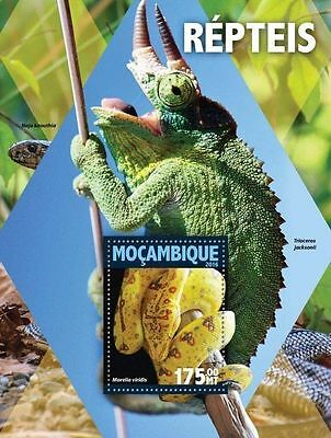 MOZAMBIQUE 2016 ** Reptiles Lizards Snakes Schlange S/S #120b