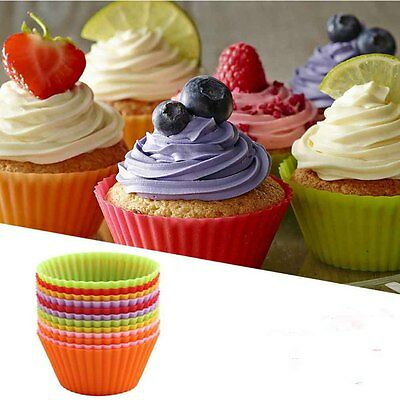 12 pcs Silicone Cake Muffin Chocolate Cupcake Liner Baking Cup Cookie Mold UK