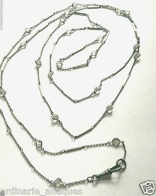 """Antique Edwardian MUFF GUARD CRYSTAL CHAIN Opera Lorgnette Necklace Silver 56"""""""