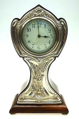 Art Nouveau Silver Antique French 8 day Rosewood Timepiece Mantel clock C1900
