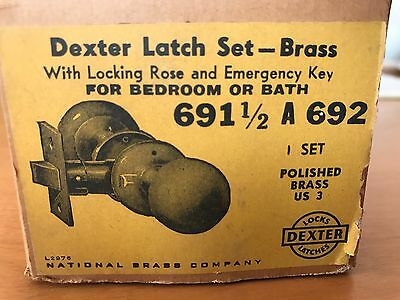 VTG DEXTER Brass Door Knob Interior Complete Latch Set Non Locking Bedroom Hall