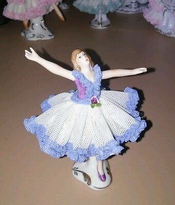 Small Dresden Lace Ballerina Girl Figurine Original Germany