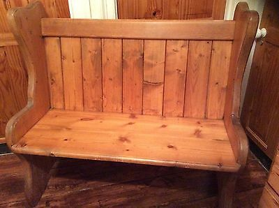 "Antique English Pine Church Chapel Pew Bench Seat 42"" Wide"