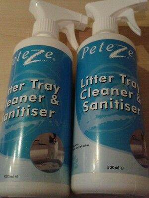 Peteze Cat Litter Cleanser and Sanitier Cat Litter Tray Small Animals 2 x 500ml